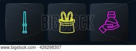 Set Line Magic Wand, Bottle With Potion And Magician Hat Rabbit Ears. Black Square Button. Vector