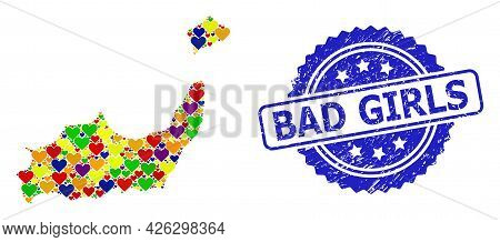 Blue Rosette Scratched Seal With Bad Girls Title. Vector Mosaic Lgbt Map Of Inagua Islands With Love