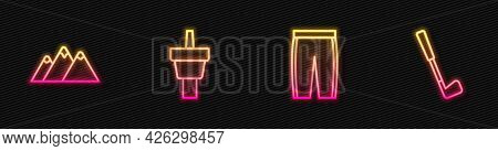 Set Line Golf Pants, Mountains, Tee And Club. Glowing Neon Icon. Vector