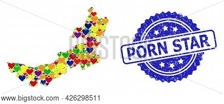 Blue Rosette Distress Seal With Porn Star Caption. Vector Mosaic Lgbt Map Of Inner Mongolia With Lov