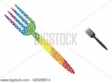 Fork Composition Icon Of Filled Circles In Variable Sizes And Rainbow Colored Color Tinges. A Dotted