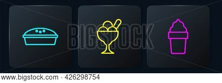 Set Line Homemade Pie, Ice Cream In Waffle Cone And Bowl. Black Square Button. Vector