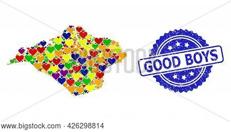 Blue Rosette Rubber Seal Stamp With Good Boys Message. Vector Mosaic Lgbt Map Of Isle Of Wight With