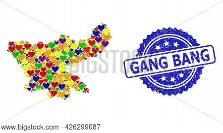 Blue Rosette Textured Seal With Gang Bang Caption. Vector Mosaic Lgbt Map Of Jharkhand State Of Love