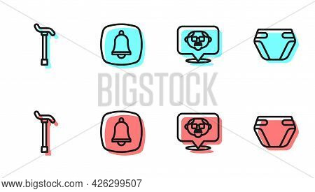 Set Line Grandfather, Walking Stick Cane, Emergency Phone Call And Adult Diaper Icon. Vector