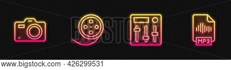 Set Line Sound Mixer Controller, Photo Camera, Film Reel And Mp3 File Document. Glowing Neon Icon. V