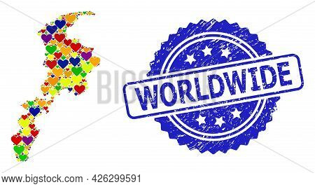 Blue Rosette Rubber Seal With Worldwide Caption. Vector Mosaic Lgbt Map Of Khyber Pakhtunkhwa Provin