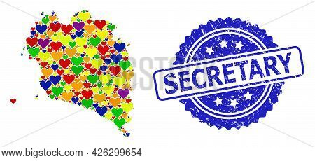 Blue Rosette Textured Watermark With Secretary Message. Vector Mosaic Lgbt Map Of Ko Pha Ngan With L