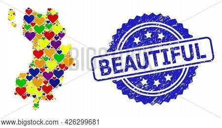 Blue Rosette Textured Watermark With Beautiful Text. Vector Mosaic Lgbt Map Of Ko Tao With Lovely He