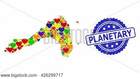 Blue Rosette Textured Watermark With Planetary Caption. Vector Mosaic Lgbt Map Of Koh Lipe From Love