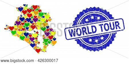 Blue Rosette Rubber Stamp With World Tour Text. Vector Mosaic Lgbt Map Of Krasnodarskiy Kray With Lo