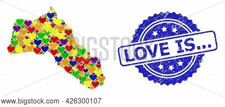 Blue Rosette Scratched Stamp With Love Is... Caption. Vector Mosaic Lgbt Map Of Kurdistan Of Lovely