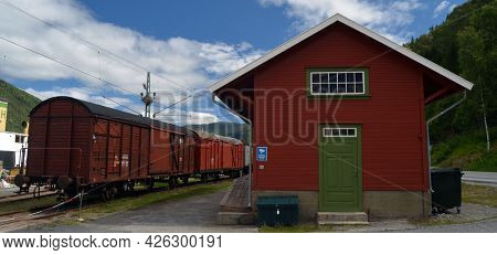 Vintage historical railway station and railway ferry service June 22,2018.Telemark,Norway