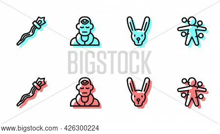 Set Line Rabbit With Ears, Magic Staff, Wizard Warlock And Voodoo Doll Icon. Vector