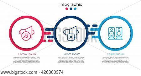 Set Line Speaker Volume, Mute And Stereo Speaker. Business Infographic Template. Vector