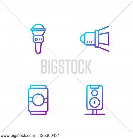 Set Line Stereo Speaker, Beer Can, Microphone And Movie Spotlight. Gradient Color Icons. Vector