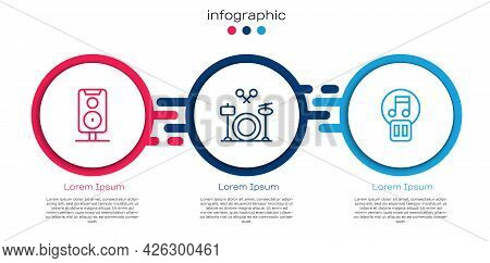 Set Line Stereo Speaker, Drums And Pause Button. Business Infographic Template. Vector