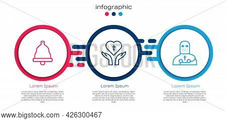 Set Line Church Bell, Religious Cross In Heart And Knight Crusader. Business Infographic Template. V