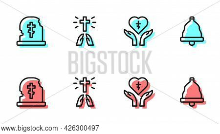 Set Line Religious Cross In Heart, Grave With Tombstone, Hands Praying Position And Church Bell Icon