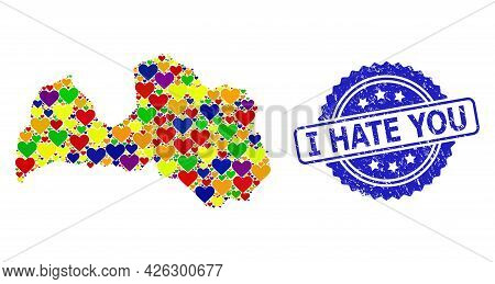 Blue Rosette Scratched Seal Imprint With I Hate You Phrase. Vector Mosaic Lgbt Map Of Latvia With Lo