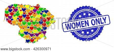 Blue Rosette Scratched Seal Stamp With Women Only Title. Vector Mosaic Lgbt Map Of Lithuania With Lo