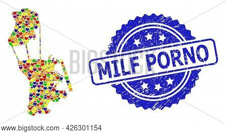 Blue Rosette Distress Seal Stamp With Milf Porno Caption. Vector Mosaic Lgbt Map Of Macau Of Lovely