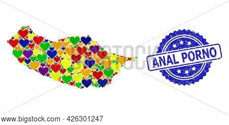 Blue Rosette Textured Seal Imprint With Anal Porno Title. Vector Mosaic Lgbt Map Of Madeira Island W