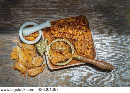 Dried Chilli Paste With Crispy Fish Thai Style Or Crispy Fish Chilli Paste On Wooden Bowl. Thai Food