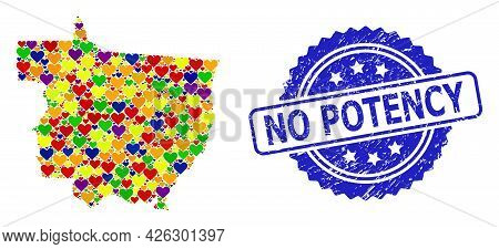 Blue Rosette Scratched Seal Stamp With No Potency Caption. Vector Mosaic Lgbt Map Of Mato Grosso Sta