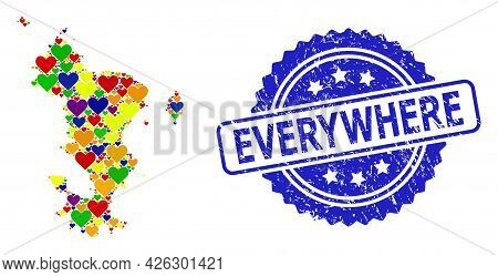 Blue Rosette Scratched Watermark With Everywhere Title. Vector Mosaic Lgbt Map Of Mayotte Islands Of