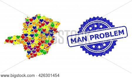 Blue Rosette Scratched Seal Stamp With Man Problem Title. Vector Mosaic Lgbt Map Of Minas Gerais Sta