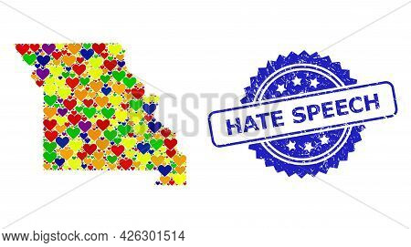 Blue Rosette Scratched Watermark With Hate Speech Title. Vector Mosaic Lgbt Map Of Missouri State Of