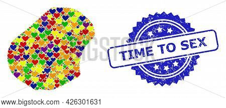 Blue Rosette Scratched Seal Stamp With Time To Sex Caption. Vector Mosaic Lgbt Map Of Nauru Of Love