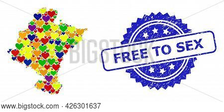 Blue Rosette Textured Seal Stamp With Free To Sex Text. Vector Mosaic Lgbt Map Of Navarra Province W