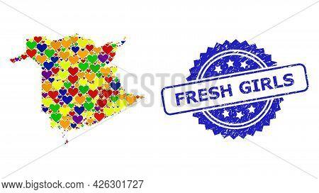 Blue Rosette Distress Watermark With Fresh Girls Message. Vector Mosaic Lgbt Map Of New Brunswick Pr