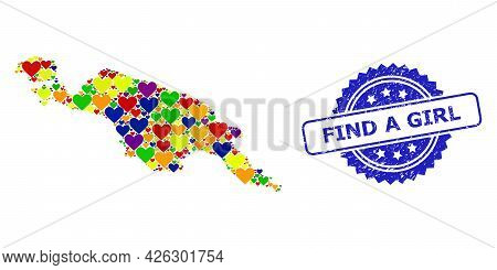 Blue Rosette Grunge Seal Stamp With Find A Girl Caption. Vector Mosaic Lgbt Map Of New Guinea Island