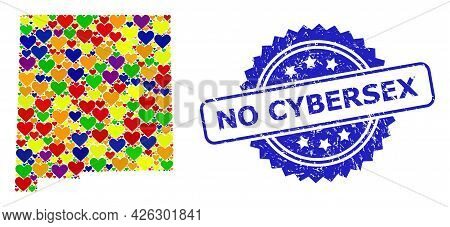 Blue Rosette Rubber Seal Imprint With No Cybersex Phrase. Vector Mosaic Lgbt Map Of New Mexico State
