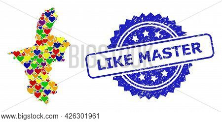 Blue Rosette Distress Watermark With Like Master Phrase. Vector Mosaic Lgbt Map Of Ningxia Hui Regio