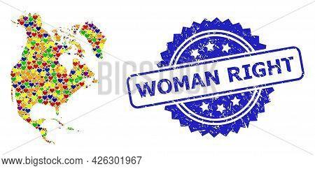 Blue Rosette Rubber Seal Imprint With Woman Right Caption. Vector Mosaic Lgbt Map Of North America W