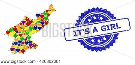 Blue Rosette Rubber Seal With It S A Girl Phrase. Vector Mosaic Lgbt Map Of North Korea With Love He