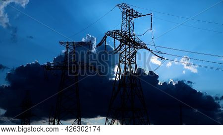 High Voltage Post. High Voltage Tower Sky Background. High-voltage Power Lines. Energy Industry. Pro