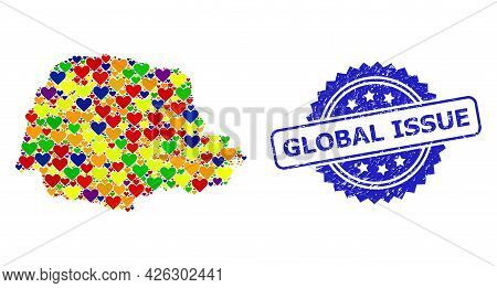 Blue Rosette Grunge Seal Stamp With Global Issue Caption. Vector Mosaic Lgbt Map Of Parana State Wit
