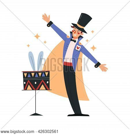 Smiling Male Magician In Colorful Costume Working In Circus. Concept Of Circus Characters Doing Tric