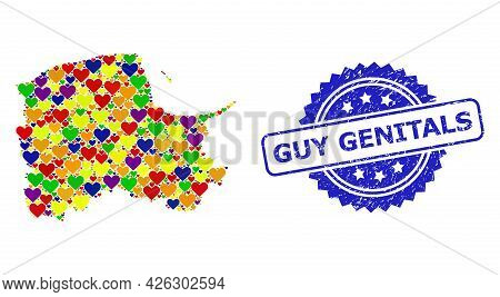 Blue Rosette Distress Seal With Guy Genitals Message. Vector Mosaic Lgbt Map Of Pomerania Province W
