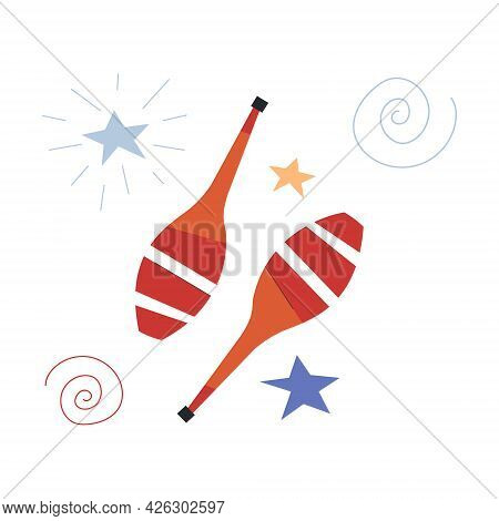Cute Circus Pair Of Maracas On White Background. Concept Of Circus Characters And Equipment Doing Tr