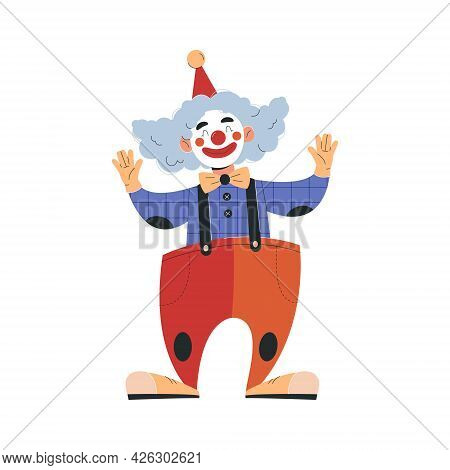 Smiling Male Clown In Colorful Costume Working In Circus. Concept Of Circus Characters Doing Tricks