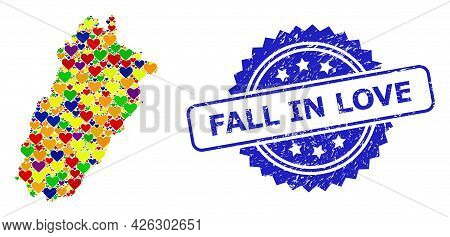 Blue Rosette Scratched Seal Imprint With Fall In Love Title. Vector Mosaic Lgbt Map Of Punjab Provin