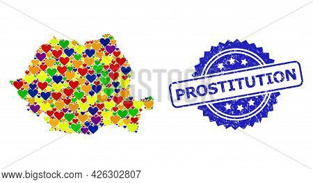 Blue Rosette Distress Watermark With Prostitution Title. Vector Mosaic Lgbt Map Of Romania With Love
