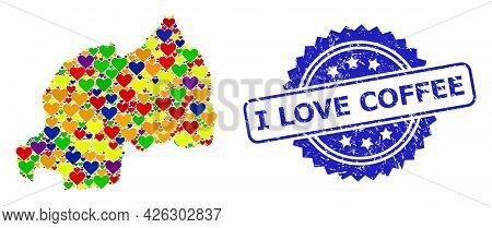 Blue Rosette Rubber Watermark With I Love Coffee Caption. Vector Mosaic Lgbt Map Of Rwanda With Hear