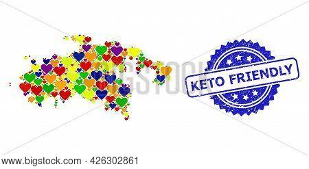 Blue Rosette Textured Seal Imprint With Keto Friendly Message. Vector Mosaic Lgbt Map Of Saint John